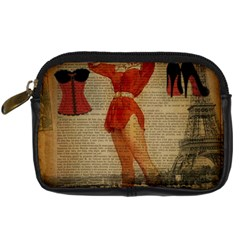 Vintage Newspaper Print Sexy Hot Gil Elvgren Pin Up Girl Paris Eiffel Tower Western Country Naughty  Digital Camera Leather Case