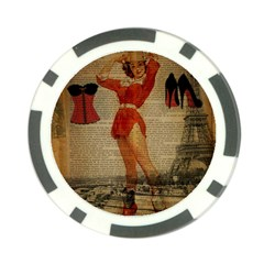 Vintage Newspaper Print Sexy Hot Gil Elvgren Pin Up Girl Paris Eiffel Tower Western Country Naughty  Poker Chip 10 Pack