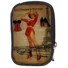 Vintage Newspaper Print Sexy Hot Gil Elvgren Pin Up Girl Paris Eiffel Tower Western Country Naughty  Compact Camera Leather Case