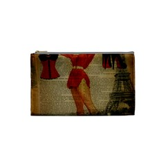 Vintage Newspaper Print Sexy Hot Gil Elvgren Pin Up Girl Paris Eiffel Tower Western Country Naughty  Cosmetic Bag (Small)
