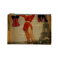 Vintage Newspaper Print Sexy Hot Gil Elvgren Pin Up Girl Paris Eiffel Tower Western Country Naughty  Cosmetic Bag (Large)