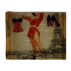 Vintage Newspaper Print Sexy Hot Gil Elvgren Pin Up Girl Paris Eiffel Tower Western Country Naughty  Cosmetic Bag (xl)