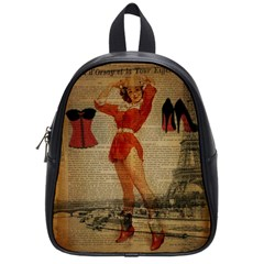 Vintage Newspaper Print Sexy Hot Gil Elvgren Pin Up Girl Paris Eiffel Tower Western Country Naughty  School Bag (Small)