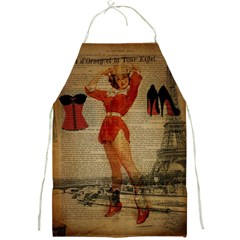 Vintage Newspaper Print Sexy Hot Gil Elvgren Pin Up Girl Paris Eiffel Tower Western Country Naughty  Apron