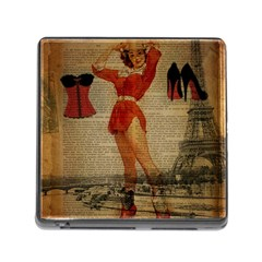 Vintage Newspaper Print Sexy Hot Gil Elvgren Pin Up Girl Paris Eiffel Tower Western Country Naughty  Memory Card Reader With Storage (square)