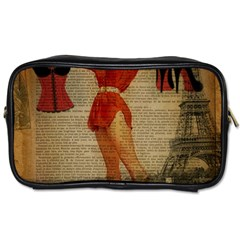 Vintage Newspaper Print Sexy Hot Gil Elvgren Pin Up Girl Paris Eiffel Tower Western Country Naughty  Travel Toiletry Bag (One Side)