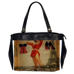 Vintage Newspaper Print Sexy Hot Gil Elvgren Pin Up Girl Paris Eiffel Tower Western Country Naughty  Oversize Office Handbag (Two Sides)