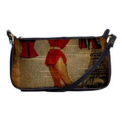 Vintage Newspaper Print Sexy Hot Gil Elvgren Pin Up Girl Paris Eiffel Tower Western Country Naughty  Evening Bag