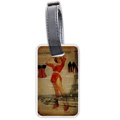 Vintage Newspaper Print Sexy Hot Gil Elvgren Pin Up Girl Paris Eiffel Tower Western Country Naughty  Luggage Tag (two Sides)