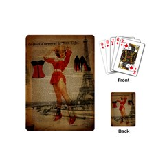 Vintage Newspaper Print Sexy Hot Gil Elvgren Pin Up Girl Paris Eiffel Tower Western Country Naughty  Playing Cards (Mini)