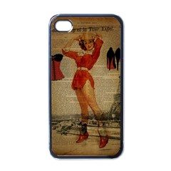 Vintage Newspaper Print Sexy Hot Gil Elvgren Pin Up Girl Paris Eiffel Tower Western Country Naughty  Apple iPhone 4 Case (Black)