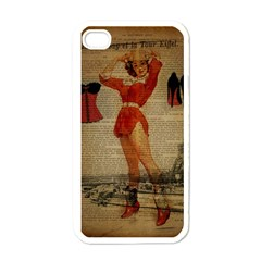 Vintage Newspaper Print Sexy Hot Gil Elvgren Pin Up Girl Paris Eiffel Tower Western Country Naughty  Apple iPhone 4 Case (White)