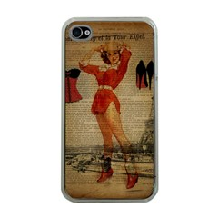 Vintage Newspaper Print Sexy Hot Gil Elvgren Pin Up Girl Paris Eiffel Tower Western Country Naughty  Apple iPhone 4 Case (Clear)