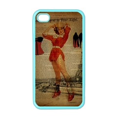 Vintage Newspaper Print Sexy Hot Gil Elvgren Pin Up Girl Paris Eiffel Tower Western Country Naughty  Apple Iphone 4 Case (color)