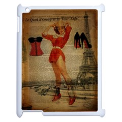 Vintage Newspaper Print Sexy Hot Gil Elvgren Pin Up Girl Paris Eiffel Tower Western Country Naughty  Apple Ipad 2 Case (white)
