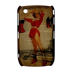 Vintage Newspaper Print Sexy Hot Gil Elvgren Pin Up Girl Paris Eiffel Tower Western Country Naughty  BlackBerry Curve 8520 9300 Hardshell Case