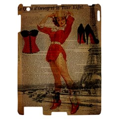 Vintage Newspaper Print Sexy Hot Gil Elvgren Pin Up Girl Paris Eiffel Tower Western Country Naughty  Apple iPad 2 Hardshell Case