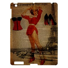 Vintage Newspaper Print Sexy Hot Gil Elvgren Pin Up Girl Paris Eiffel Tower Western Country Naughty  Apple Ipad 3/4 Hardshell Case