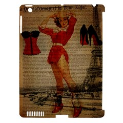Vintage Newspaper Print Sexy Hot Gil Elvgren Pin Up Girl Paris Eiffel Tower Western Country Naughty  Apple Ipad 3/4 Hardshell Case (compatible With Smart Cover)