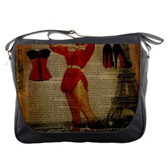 Vintage Newspaper Print Sexy Hot Gil Elvgren Pin Up Girl Paris Eiffel Tower Western Country Naughty  Messenger Bag
