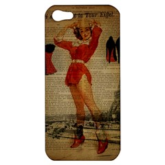 Vintage Newspaper Print Sexy Hot Gil Elvgren Pin Up Girl Paris Eiffel Tower Western Country Naughty  Apple iPhone 5 Hardshell Case