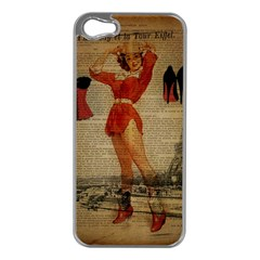 Vintage Newspaper Print Sexy Hot Gil Elvgren Pin Up Girl Paris Eiffel Tower Western Country Naughty  Apple iPhone 5 Case (Silver)