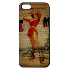 Vintage Newspaper Print Sexy Hot Gil Elvgren Pin Up Girl Paris Eiffel Tower Western Country Naughty  Apple iPhone 5 Seamless Case (Black)