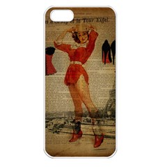 Vintage Newspaper Print Sexy Hot Gil Elvgren Pin Up Girl Paris Eiffel Tower Western Country Naughty  Apple iPhone 5 Seamless Case (White)