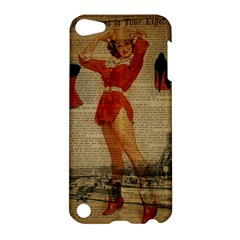 Vintage Newspaper Print Sexy Hot Gil Elvgren Pin Up Girl Paris Eiffel Tower Western Country Naughty  Apple iPod Touch 5 Hardshell Case