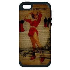 Vintage Newspaper Print Sexy Hot Gil Elvgren Pin Up Girl Paris Eiffel Tower Western Country Naughty  Apple iPhone 5 Hardshell Case (PC+Silicone)
