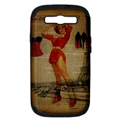 Vintage Newspaper Print Sexy Hot Gil Elvgren Pin Up Girl Paris Eiffel Tower Western Country Naughty  Samsung Galaxy S III Hardshell Case (PC+Silicone)