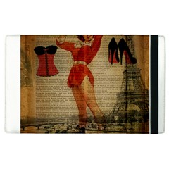 Vintage Newspaper Print Sexy Hot Gil Elvgren Pin Up Girl Paris Eiffel Tower Western Country Naughty  Apple iPad 3/4 Flip Case