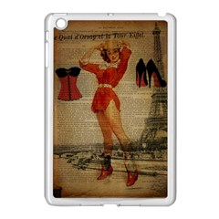 Vintage Newspaper Print Sexy Hot Gil Elvgren Pin Up Girl Paris Eiffel Tower Western Country Naughty  Apple Ipad Mini Case (white)