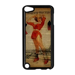 Vintage Newspaper Print Sexy Hot Gil Elvgren Pin Up Girl Paris Eiffel Tower Western Country Naughty  Apple iPod Touch 5 Case (Black)