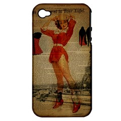 Vintage Newspaper Print Sexy Hot Gil Elvgren Pin Up Girl Paris Eiffel Tower Western Country Naughty  Apple Iphone 4/4s Hardshell Case (pc+silicone)