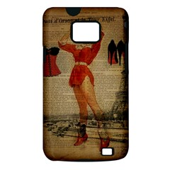 Vintage Newspaper Print Sexy Hot Gil Elvgren Pin Up Girl Paris Eiffel Tower Western Country Naughty  Samsung Galaxy S II Hardshell Case (PC+Silicone)