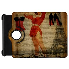 Vintage Newspaper Print Sexy Hot Gil Elvgren Pin Up Girl Paris Eiffel Tower Western Country Naughty  Kindle Fire HD 7  Flip 360 Case