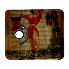 Vintage Newspaper Print Sexy Hot Gil Elvgren Pin Up Girl Paris Eiffel Tower Western Country Naughty  Samsung Galaxy S  III Flip 360 Case
