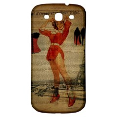 Vintage Newspaper Print Sexy Hot Gil Elvgren Pin Up Girl Paris Eiffel Tower Western Country Naughty  Samsung Galaxy S3 S Iii Classic Hardshell Back Case