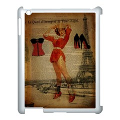 Vintage Newspaper Print Sexy Hot Gil Elvgren Pin Up Girl Paris Eiffel Tower Western Country Naughty  Apple iPad 3/4 Case (White)