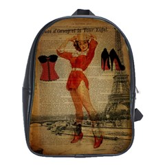 Vintage Newspaper Print Sexy Hot Gil Elvgren Pin Up Girl Paris Eiffel Tower Western Country Naughty  School Bag (XL)