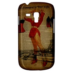 Vintage Newspaper Print Sexy Hot Gil Elvgren Pin Up Girl Paris Eiffel Tower Western Country Naughty  Samsung Galaxy S3 MINI I8190 Hardshell Case