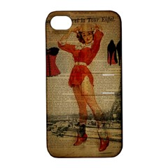 Vintage Newspaper Print Sexy Hot Gil Elvgren Pin Up Girl Paris Eiffel Tower Western Country Naughty  Apple iPhone 4/4S Hardshell Case with Stand