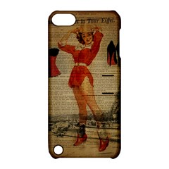Vintage Newspaper Print Sexy Hot Gil Elvgren Pin Up Girl Paris Eiffel Tower Western Country Naughty  Apple iPod Touch 5 Hardshell Case with Stand