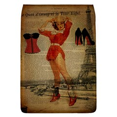 Vintage Newspaper Print Sexy Hot Gil Elvgren Pin Up Girl Paris Eiffel Tower Western Country Naughty  Removable Flap Cover (large)