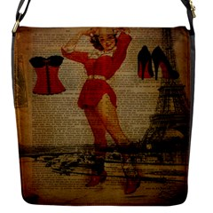 Vintage Newspaper Print Sexy Hot Gil Elvgren Pin Up Girl Paris Eiffel Tower Western Country Naughty  Flap closure messenger bag (Small)