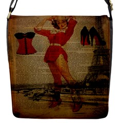Vintage Newspaper Print Sexy Hot Gil Elvgren Pin Up Girl Paris Eiffel Tower Western Country Naughty  Removable Flap Cover (small)