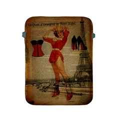 Vintage Newspaper Print Sexy Hot Gil Elvgren Pin Up Girl Paris Eiffel Tower Western Country Naughty  Apple iPad 2/3/4 Protective Soft Case