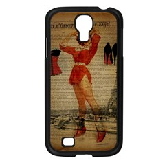 Vintage Newspaper Print Sexy Hot Gil Elvgren Pin Up Girl Paris Eiffel Tower Western Country Naughty  Samsung GALAXY S4 I9500/ I9505 (Black)