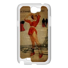 Vintage Newspaper Print Sexy Hot Gil Elvgren Pin Up Girl Paris Eiffel Tower Western Country Naughty  Samsung GALAXY Note2 (white)